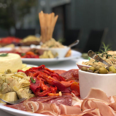 Plates of homemade antipasti