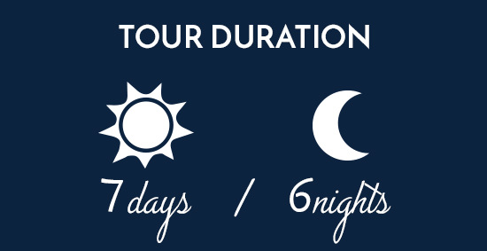 Illustration displaying a cycling tour duration of seven days and six nights