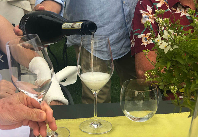 Prosecco being poured into a glass in Veneto