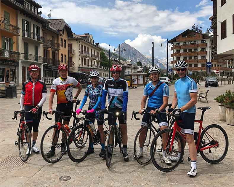 A group of riders in Cortina d'Ampezzo before a ride