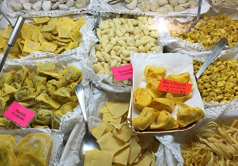 homemade pasta from a shop in Lucca
