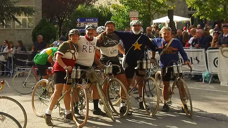 Riders on the finish line of L'Eroica